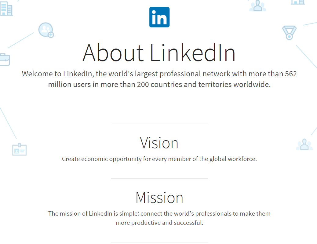 LinkedIn mission social media