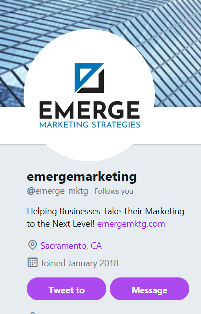 Emerge Marketing Twitter Profile